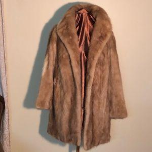 Jackets & Blazers - Gorgeous vintage Tan mink Coat with Leather belt